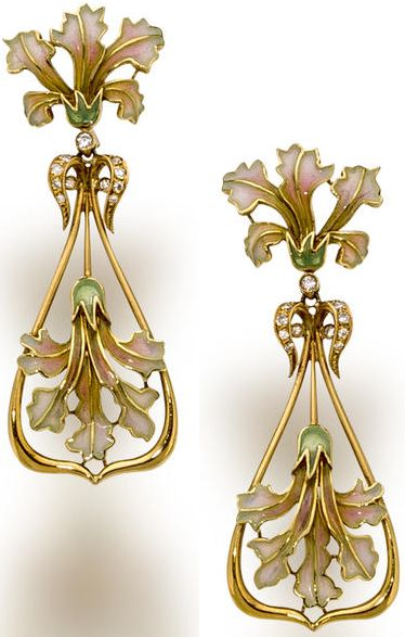 A pair of enamel and diamond pendant earrings, Masriera & Carreras. each of openwork design with pink, blue and green plique-à-jour enamel flowers and single-cut diamond detail; signed Masriera & Carreras; mounted in eighteen karat gold; length: 2 1/8in.