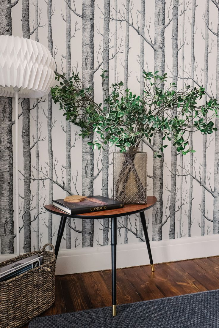 Scandinavian Style Interior Design With Woodland Wallpaper And Striking Mid  Century Console Table In A Beautiful
