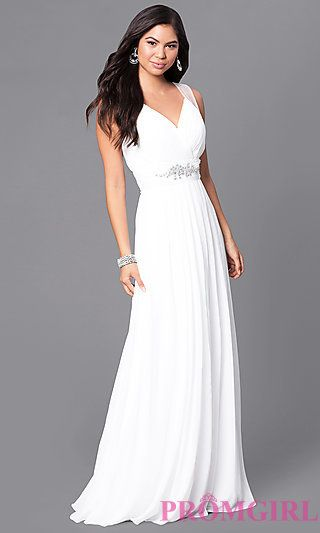DQ-9539        Low Price Guarantee Returns & Exchanges Same Day Shipping   Long V-Neck Formal Dress with Jeweled Empire Waist $119