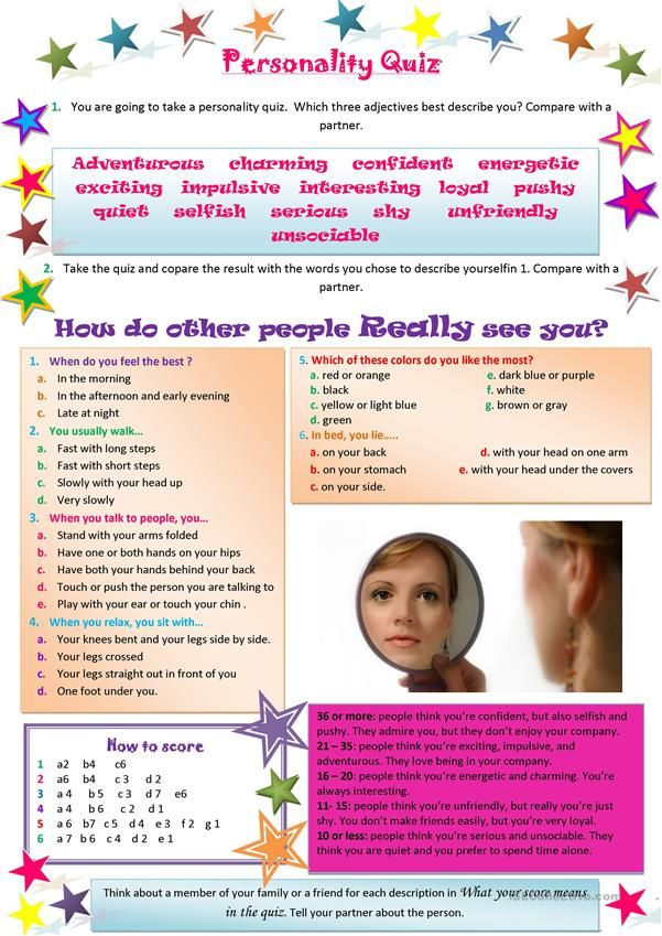 photo about Printable Personality Quiz titled temperament quiz worksheet - Cost-free ESL printable worksheets
