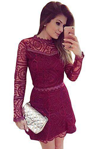 NEW Mesdames Bordeaux à manches longues robe Patineuse Bureau Soirée Soirée Robe occasion spéciale Taille M UK 10-12 EU 3840: Tweet…
