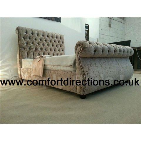 Swan Sleigh Crushed Velvet Bed