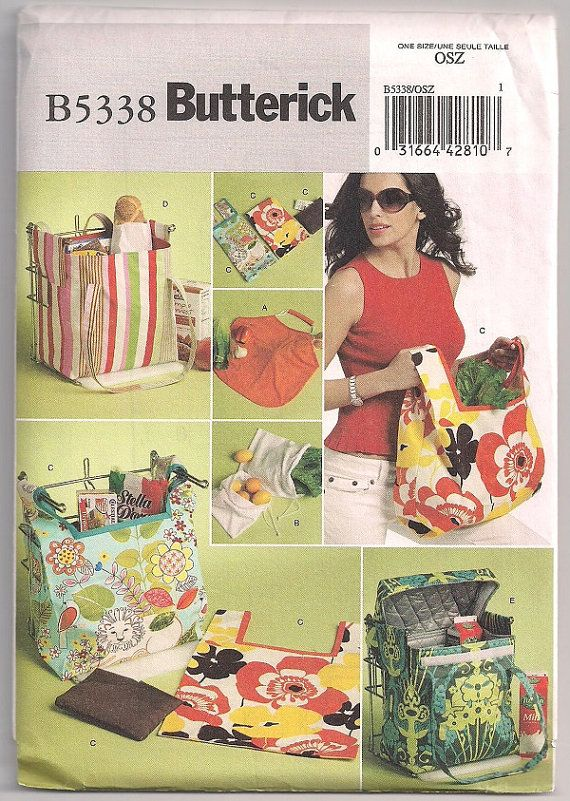 Grocery tote, Butterick 5338, grocery bag, shopping bag, insulated bag, hot or cold bag, reusable bag, grocery shopping craft pattern