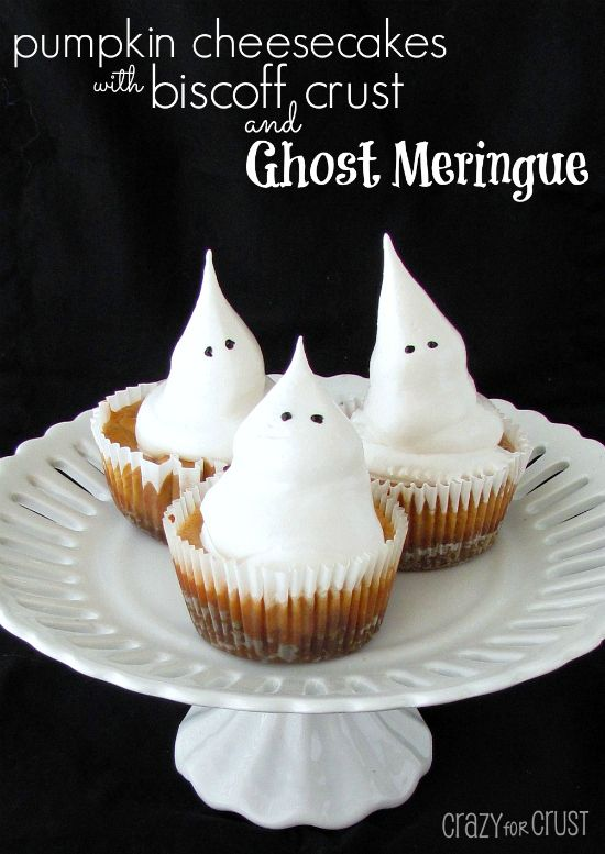 pumpkin cheesecakes with biscoff crust and ghost meringue   crazyforcrust.com