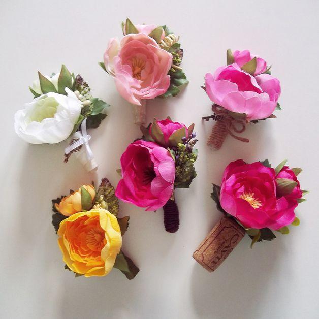 Men's Wedding Accessories – Groom's Boutonniere - Yellow, Pink, White Ranunculus – Bottoniera Sposo - Fiore all'Occhiello - Ranuncoli Colorati - Matrimonio Estivo - Summer Wedding -  unique products by FOLKflor on DaWanda