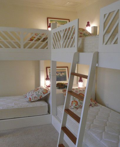"quadruple bunk beds- great for a large family, or a sleepover room at grandma and grandpa's. I love the corner ""nightstand"" with lighting!"