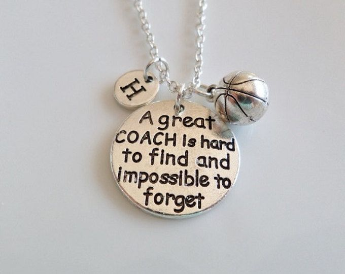 Coach necklace, Basketball Coach, A great coach is hard to find and impossible to forget, Gifts for Coach, Coach jewelry, initial necklace