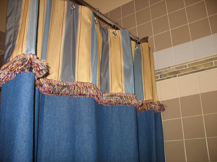 Custom-Made Denim Shantung Shower Curtains. - 10 Best Images About Shower Curtains On Pinterest Curtains, The