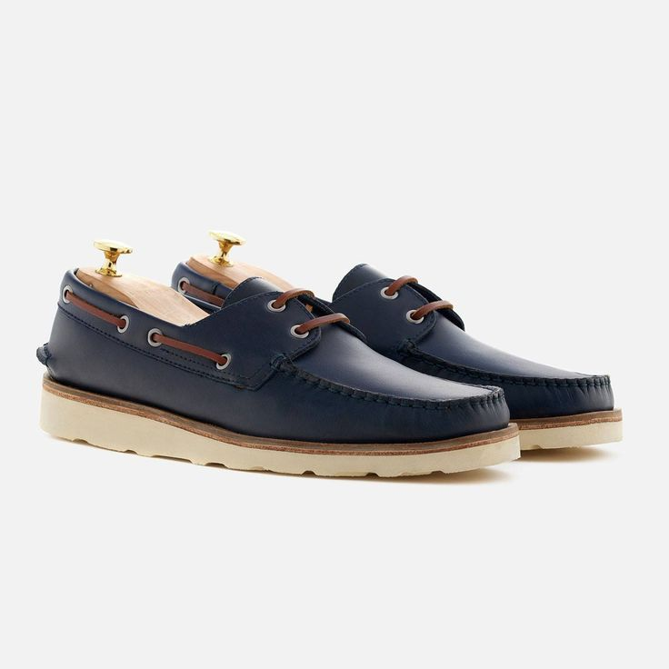 *SECONDS* Norton Boat Shoes - Pull-up Leather - Navy