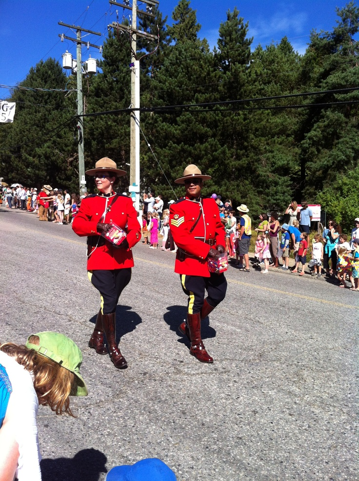 Bowen Island Parade with RCMP Members in full dress.