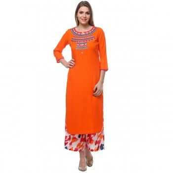 Rayon Orange Stitched Kurti With Palazzo - A15R014P1