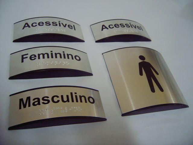 Braille placa sinalização banheiro acessível