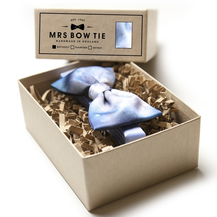 "Mrs Bow Tie's ""Blue Space Dust"" Satin Bow Tie. £22."