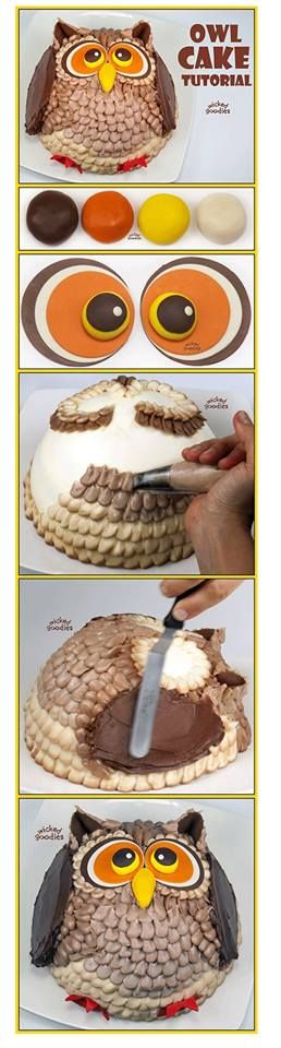 STEP BY STEP http://www.wickedgoodies.net/2013/08/how-to-make-an-owl-cake/
