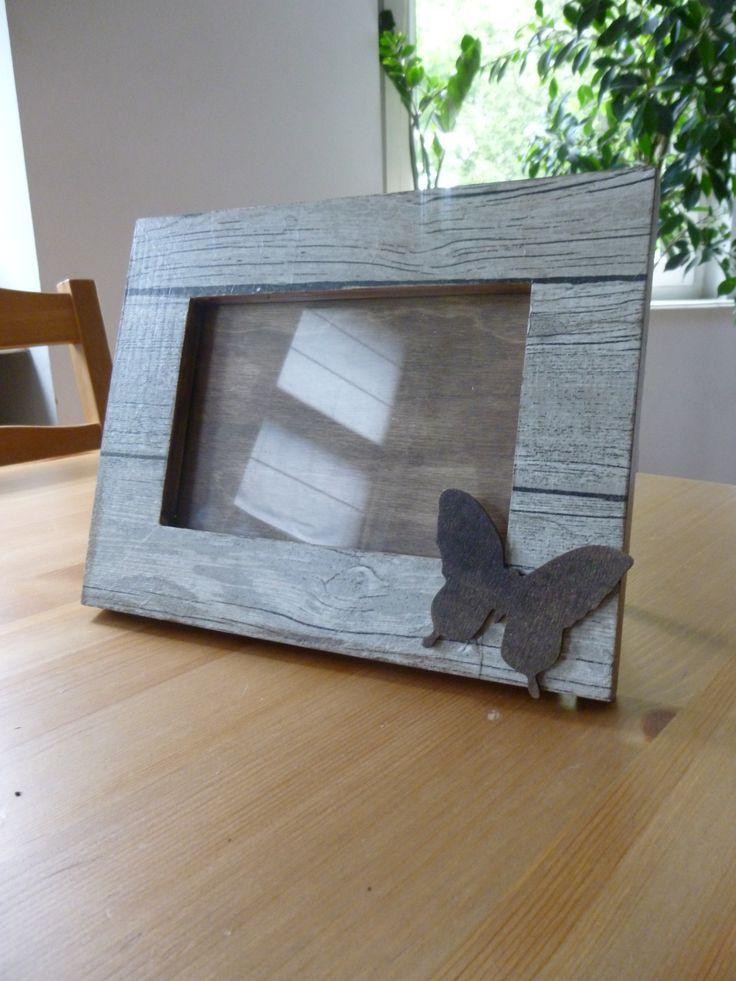 drewniana ramka na zdjęcia #handmade #ramka #motyl