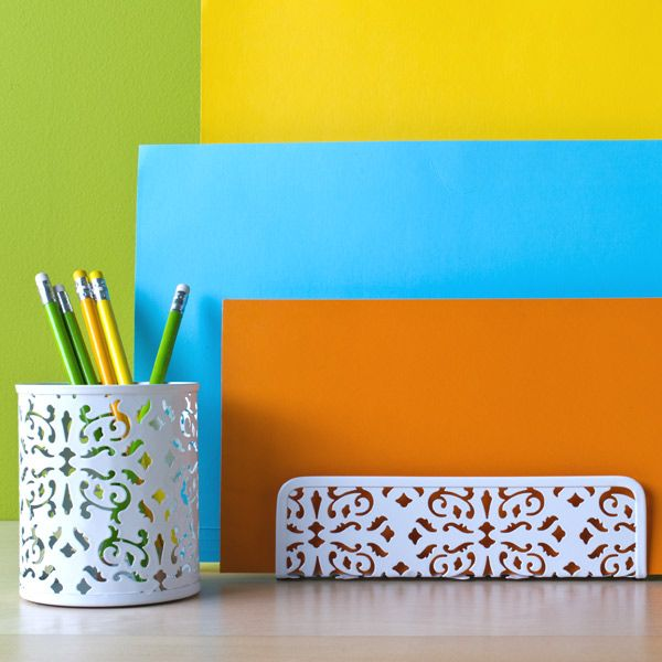 office accessories: Brocade Pencil, Makeup Brushes, College, Offices Ideas, Offices Accessories, Products, Pencil Cups, Brocade Desks, Desks Accessories
