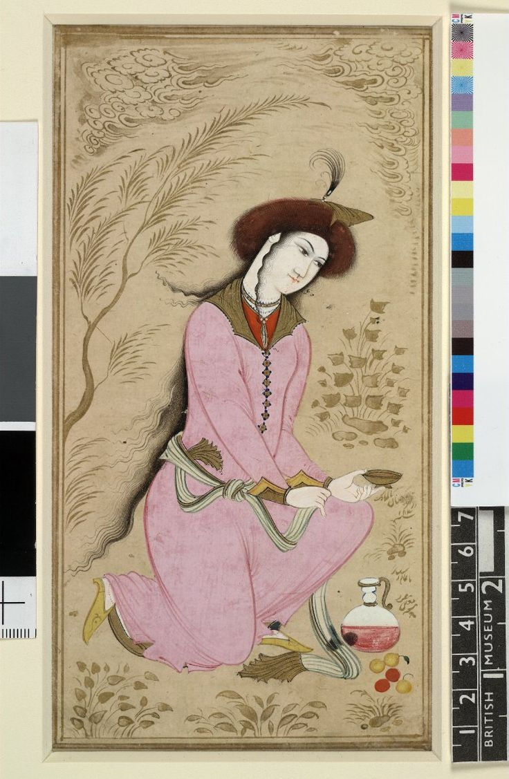 Painting; portrait of a young man kneeling, holding a cup (presumbed to be wine) with a goblet placed on the floor. Man wears a turban with plumes, possibly indicating his royal lineage. No text. Painted in gouache and gilded on paper. Producer nameMade by: Mu'in Musavvir biography School/styleIsfahan School Culture/periodSafavid dynasty term details Date1663 (?)17thC(late)