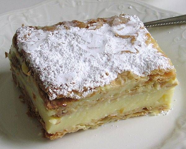 Polish Cream Cake or Kremowka Papieska -- a favorite of Pope John Paul II. One of my favorite parts of Poland!    Oh my gosh, I think I'm going to live on this for eternity!