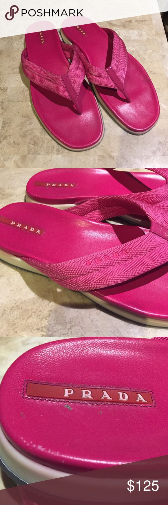 Pink Prada flip flops 38 no box $125 firm Pink Prada flip flops 38 no box $125 firm. Good condition. Prada Shoes Sandals