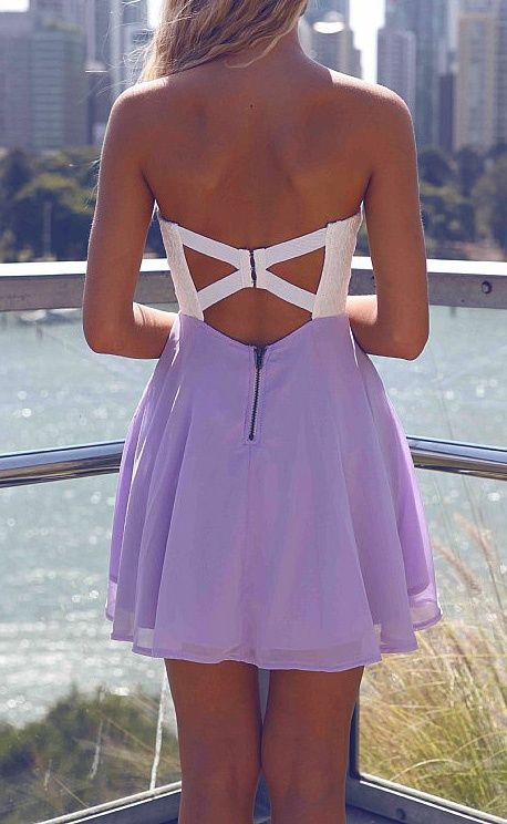Open back white and violet dress. Latest arrivals 2015. Get ready for this summer.