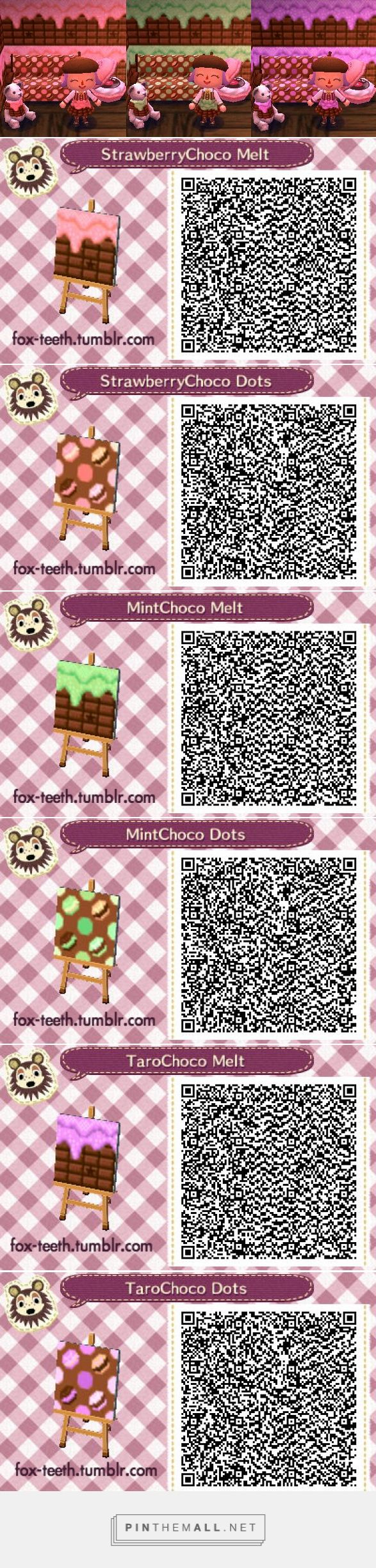 Melty chocolate and macaron themed pattern in pink, green and purple