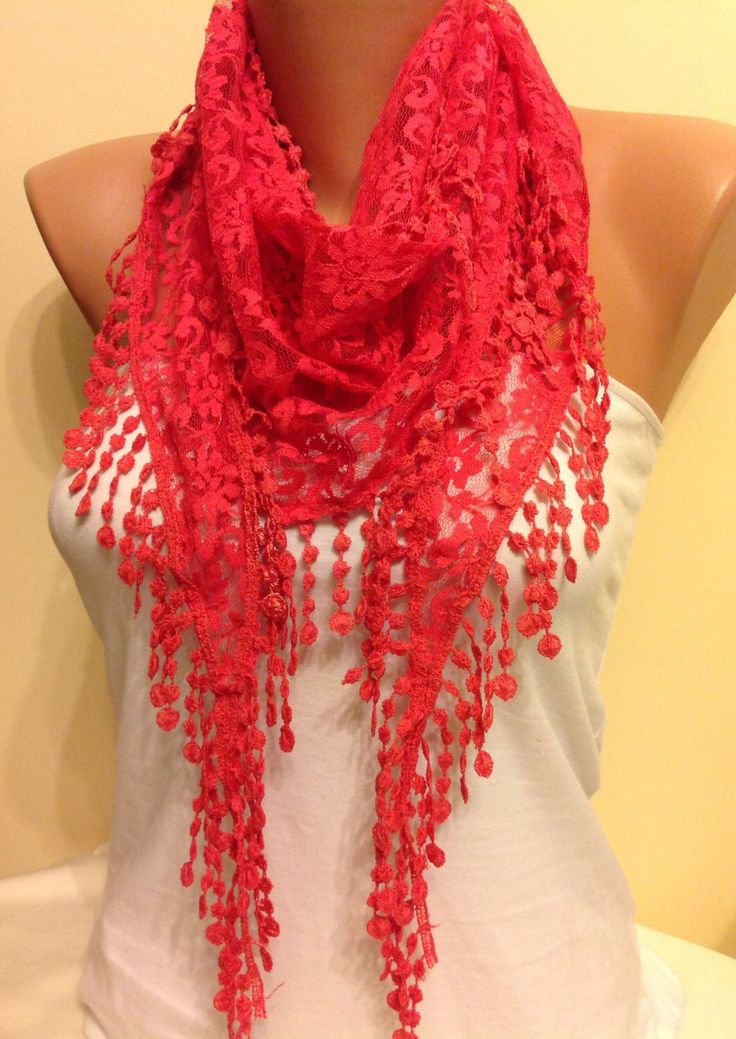 A personal favorite from my Etsy shop https://www.etsy.com/listing/184524504/pomegranate-flower-color-scarf-lace
