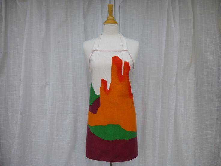 Vintage 70s 80s Southwestern Landscape 100% Cotton Full Apron Orange Multi-Color Canvas Decorative Cuisine Farmhouse Apron Country Kitchen by GlamGarbVintage on Etsy