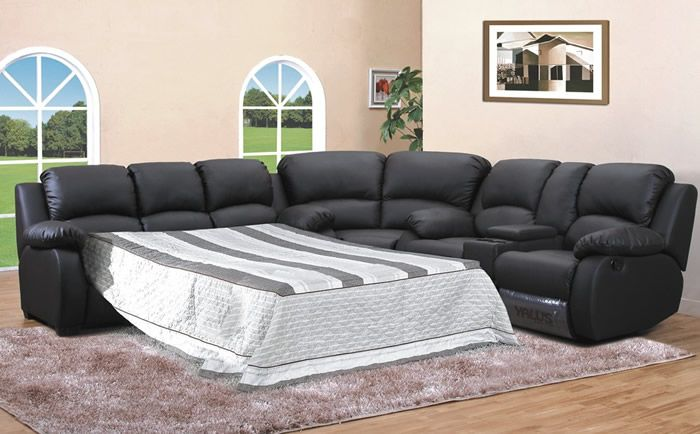 Leather sectional with sleeper Y 8673 | Ecksofa ...