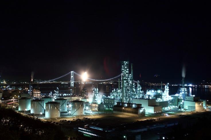 Muroran Japan  city photos gallery : Muroran, Hokkaido JAPAN Night Lights of Oil Refinery Base & Hakucho ...