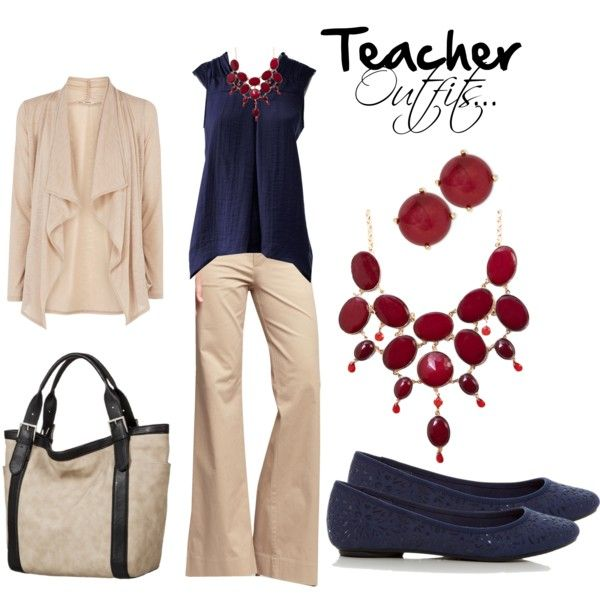 """Teacher outfits... Navy, Red and cream"" by tabbycat-303 on Polyvore"