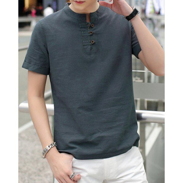 Stylish Stand Collar Solid Color Button Design Slimming Short Sleeve Cotton+Linen T-Shirt For Men