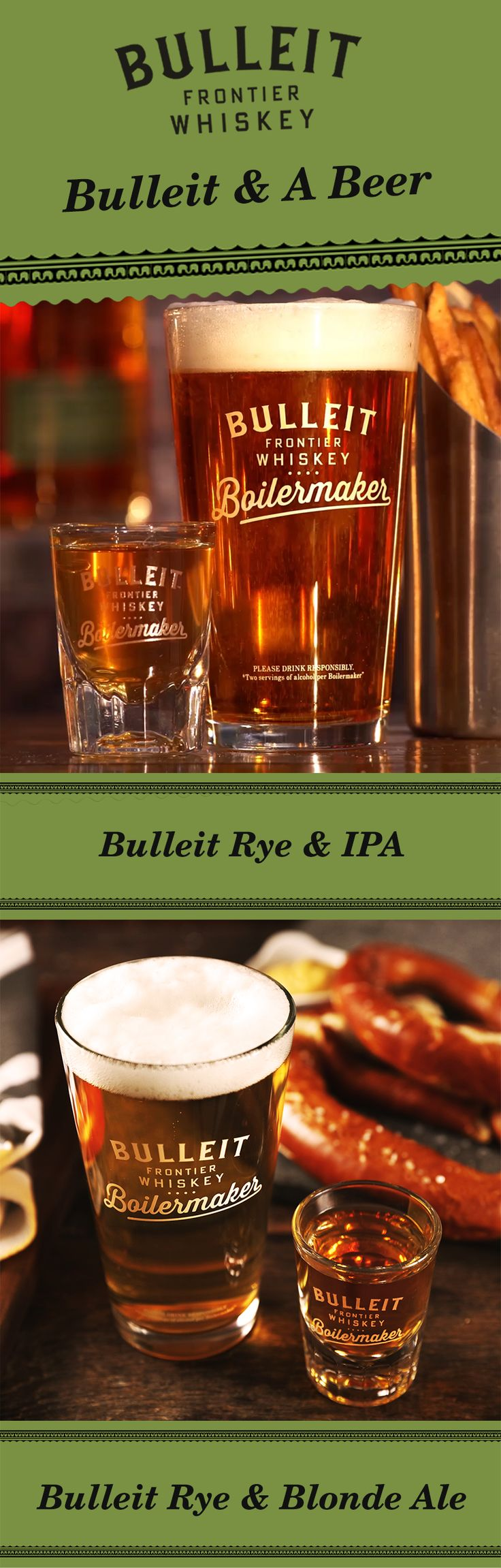 It's playoff season, so open up the tailgating playbook. Whether you're at home, the bar, or a football viewing party—go for Bulleit and a beer. The recipe is easy, just pair a beer and a shot. Simply pour 1.3 oz Bulleit Rye and pair it with your favorite 12 oz beer—including an IPA or blonde ale. To best experience this two-drink serve, alternate between sipping Bulleit Rye and slowly drinking your beer to discover unique flavor profiles.