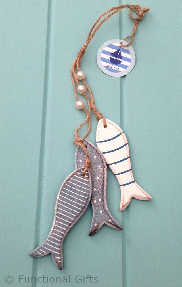 The lovely rustic wooden fish are decorated with pretty blue and white stripes and spots. Sass & Belle Wooden Fish Hanging Decoration. | eBay!