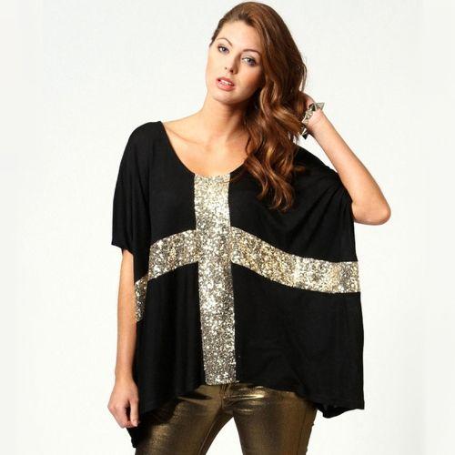 New Fashion Women Oversized T-shirt Sequin Cross Batwing Sleeve Loose Tops Black