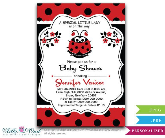 Hey, I found this really awesome Etsy listing at https://www.etsy.com/listing/184188626/personalized-lady-bug-girl-invitation