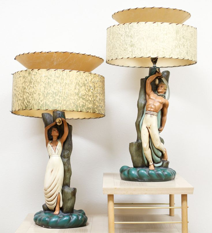 Vintage 1940's Island Couple Chalkware Lamps Mid Century by  MikesBlackKatVintage on Etsy https:// - 30 Best Light My World! Images On Pinterest Glass Table Lamps