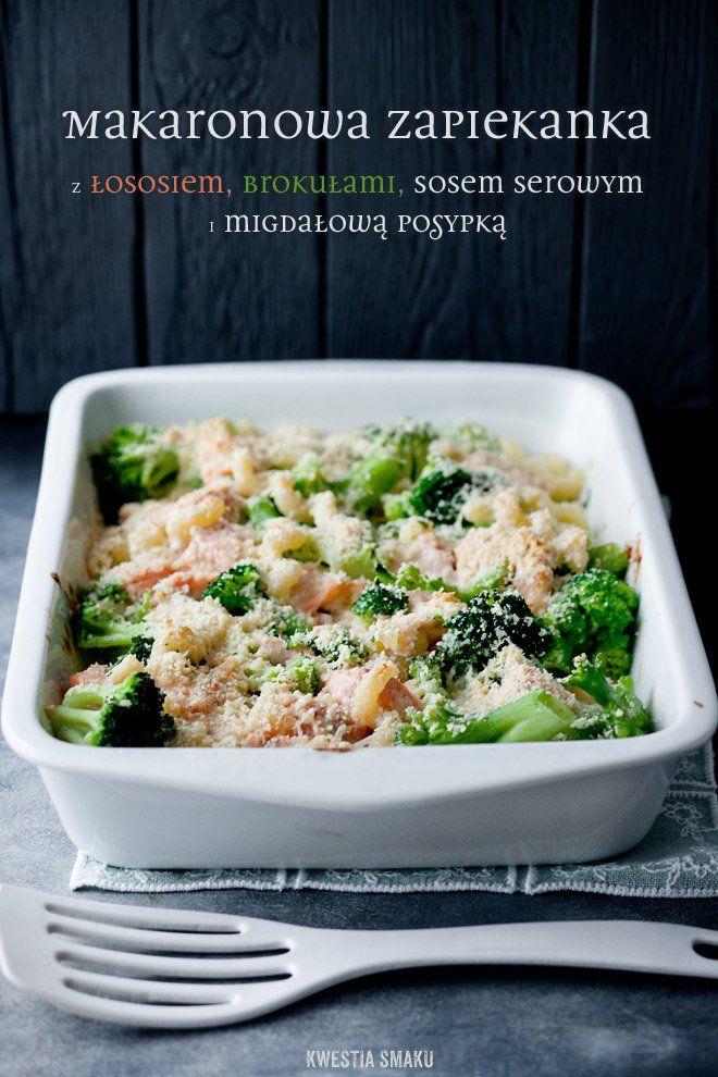 Zapiekanka makaronowa z brokułami, łososiem i mozzarellą | Kwestia Smaku