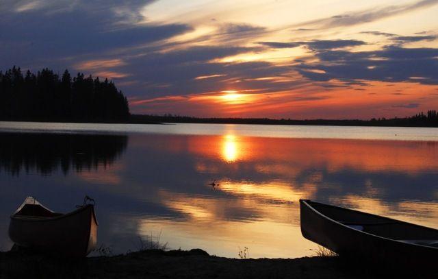 Sunset at Elk Island National Park in summer