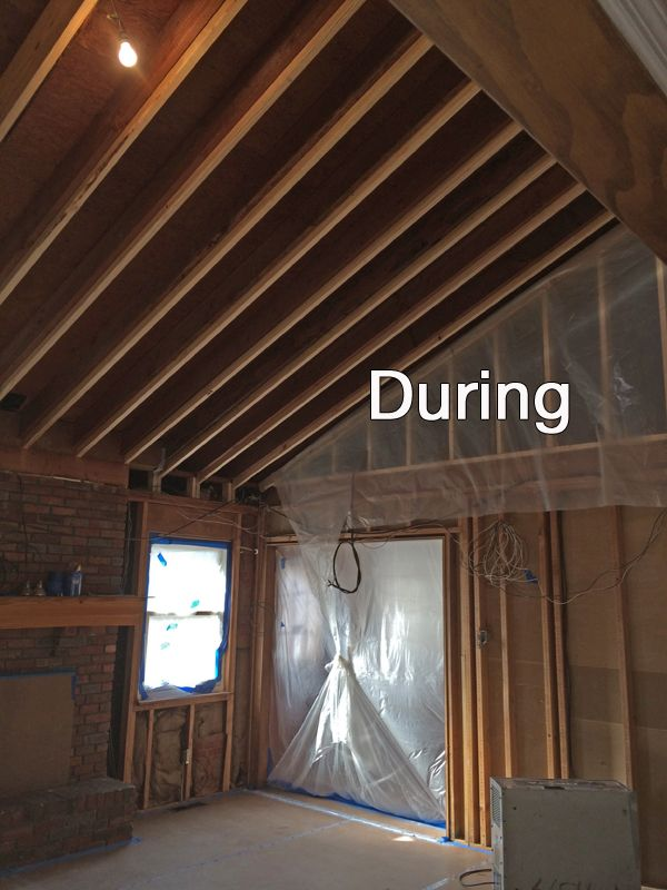 The Family Room During The Construction To Raise The Ceiling All Wood Paneling Was Removed To Install Home Ceiling Vaulted Living Rooms Exposed Wood Ceilings