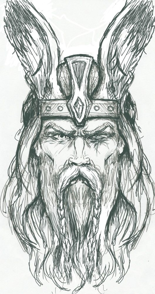Odin Sketch by PlunderedPsyche