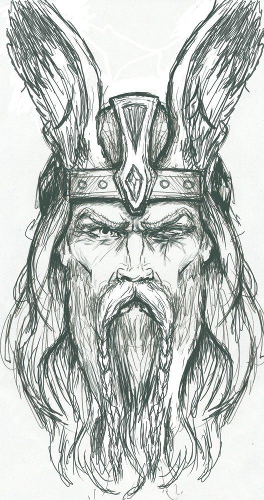 Odin Sketch by PlunderedPsyche