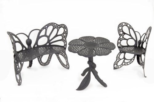 Flower House FHBFSET3B Butterfly Garden Set, Black by Flower House. $945.00. Heirloom Quality Cast Aluminum with Durable Powder Coated Finish. Beautiful addition to your home , garden or pool area.. Patented. A great gift item to be enjoyed for generations. Unique one of a kind design. This Beautiful Butterfly Furniture set will add a functional,elegant,focal point in your home or garden .Classic wrought iron design in lighter rust-free cast aluminum .Durable ,all weather ...