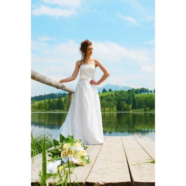 Stunning A-line Strapless Neckline Floor Length Silk Lace Ivory Wedding Dress. #Strapless. #Silk, #Lace. #Ivory, #Wedding, #Dress, #Bridal. Only $364.99