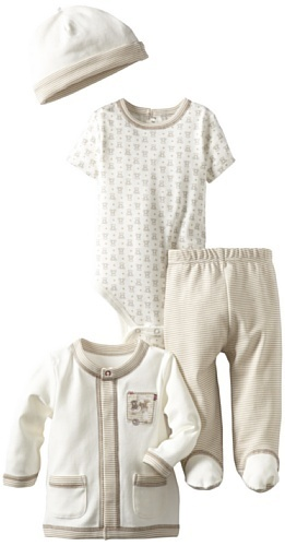 Little Me Baby-Boys Newborn Fuzzy Bear 3 Piece Pant And Hat Set, Oatmeal Multi, 6 Months Little Me, By Amazon.com