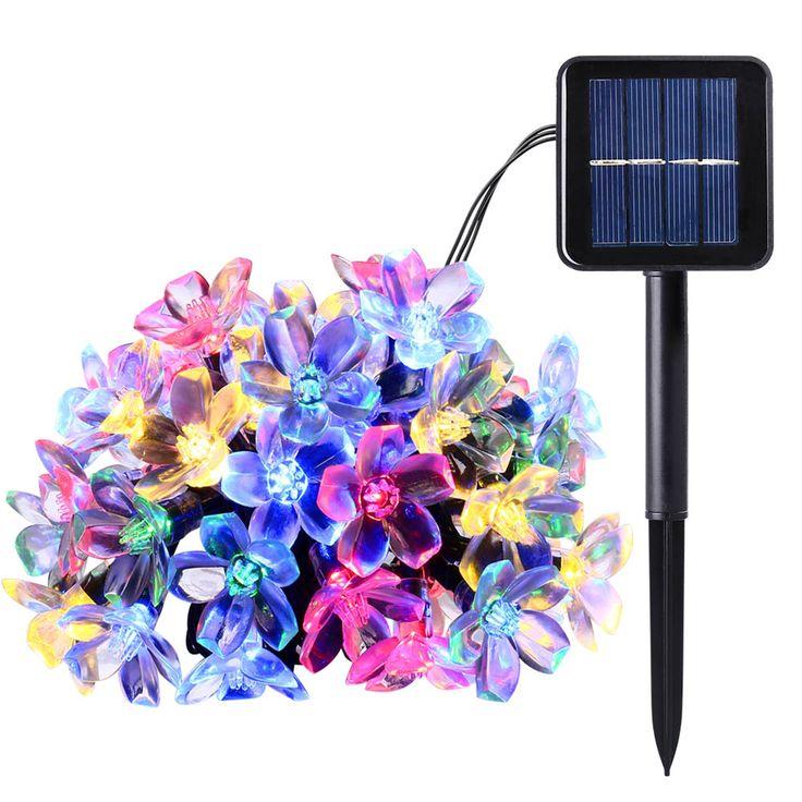 Baru 50 LEDS 7 M Bunga Persik Ledertek Surya Lampu Daya LED String Peri Lampu Surya Taman Natal Dekorasi Karangan Bunga Untuk luar