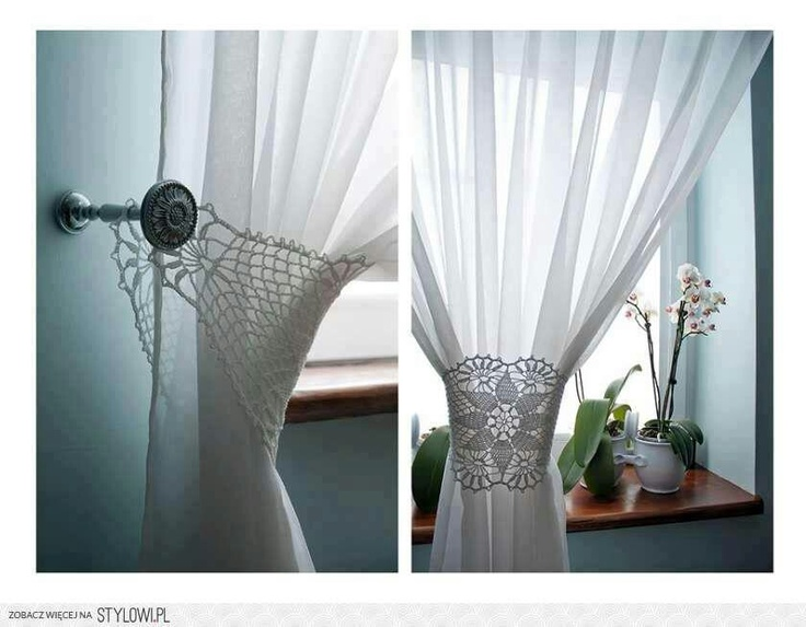 CortinadosCrochet Ideas, Crochet Curtains, Inspiration, Doilies, Crochet Ornaments, Lace Curtains, Crochet Lace, Diy, Curtains Ties Back