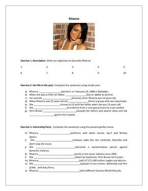 Song Worksheet: Rihanna (Simple Past and Present Perfect Review)