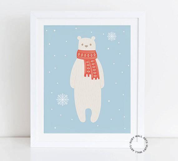Bear Print, Bear Cartoon, Bear Wall Art, Bear Funny, Winter, Bear, Nursery, Decor, Poster, Printable, Woodland, Digital Print