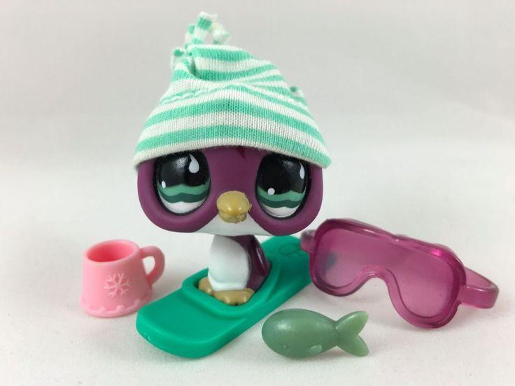 Littlest Pet Shop Cute Plum Penguin #676 w/Goggles, Snowboard Accessories #Hasbro
