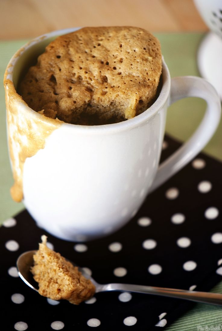 MUG BANANA BREAD: Spray mug. Whisk 3T flour, 1T+1t sugar, 2T brown sugar, 1/8t salt, 1/8t baking powder & 1/8t baking soda. Add 1 egg & combine just to incorporate. Mix in 1/4t vanilla, 1T oil, 1T milk & 1 ripe, mashed banana.  Microwave up to 3 min. (check after 90 sec). Cool slightly